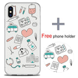 DIFFRBEAUTY Doctor Medical Profession Back Cover Soft Phone Cases For iPhone 5 SE 6s 7 8 Plus X Phone Holder Gift Free-moslily