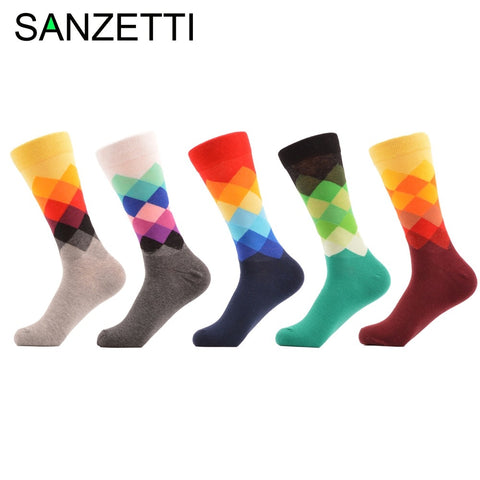 SANZETTI 5 pairs/lot New Funny Fashion Men's Combed Cotton Happy Socks Casual Crew Novelty Dress Business Socks Wedding Gifts-moslily