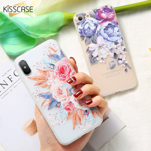 KISSCASE Case For iPhone X 8 8 Plus 3D Relief Soft Silicone Blossoming Flowers Case For iPhone 5 5s 6 6S 7 8 Plus X Cover Fundas-moslily