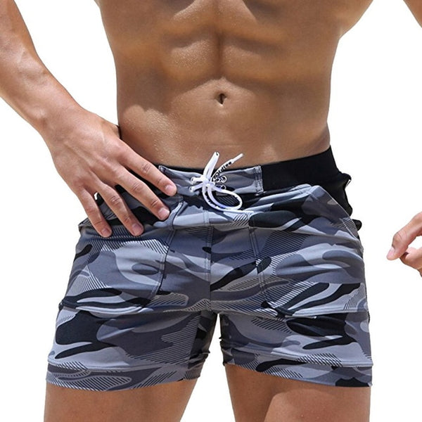 LASPERAL Men Board Short for Swimwear Camo Gray Print Active Wear Plus Size Swimwear Male Shorts Men Fashion Swimshorts Men-moslily