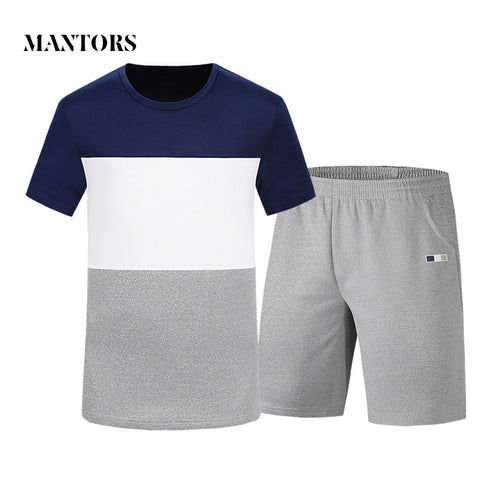 Mens Suits Summer Short Sleeve Fitness Sporting Suits 2018 New T Shirts+Shorts Elastic Waist Clothing Male Sets Casual Tracksuit-moslily