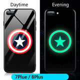 FUNM'OB Marvel Batman Superman Spiderman Luminous Glass Case For iphone 7 8 6 6s Plus X 10 Avengers Black Panther iron Man Cover-moslily