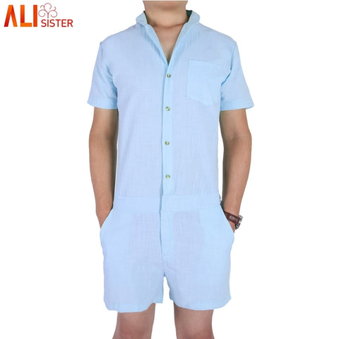 Alisister Summer Short Sleeve Casual Men's Rompers Fashion Single Breasted Jumpsuit Button Overalls Short Cargo Pants Overalls-moslily