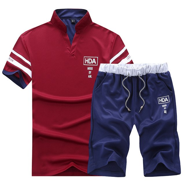 419ecad3bf6 Men Summer 2PC Set Breathable 2018 Sportsuits Mes Short Set Two Pieces  Fashion Polo Track Suit