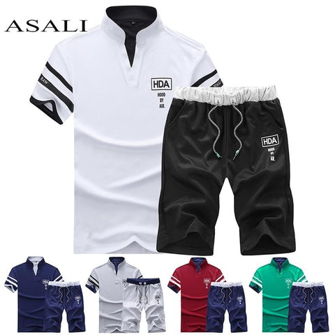Summer Short Sets Men Casual Suits Sportswear Tracksuit Stand Collar Male Outwear Sweatshirts Hoodies Patchwork T Shirt +Pants-moslily