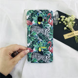 Summer Artistic Leaf Phone Cases For Samsung Galaxy S8 S7 S9 Plus Edge S8+ Note8 frosted Hard Phone Bags leaves Back Cover Funda-moslily