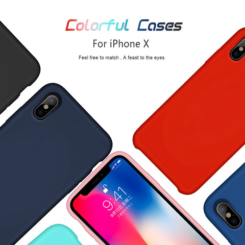 HOCO Original Liquid Silicone Case For iPhone X 10 Ultra Slim Back Cover Stylish Premium Luxury business Shell For Apple iPhoneX-moslily