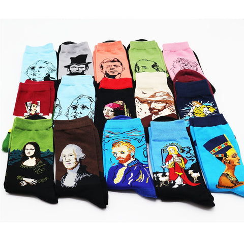 New cotton interesting personality world famous painting pattern men in the tube socks high quality combed cotton socks 1 pairs-moslily