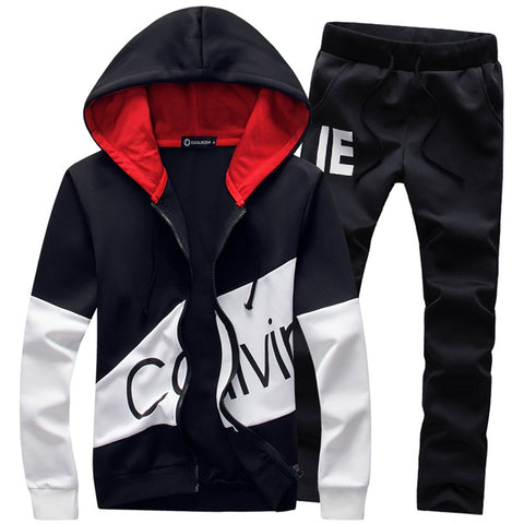 M-5XL Plus Size Fashion Brand Men Sets hooded tracksuit track sweat suits letter print male sweatsuit mens sporting suits sets-moslily