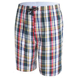LUWCON Brand Men's Cotton Board Shorts Half Length Comfortable Men Home Clothing Casual Plaid Beach Shorts-moslily