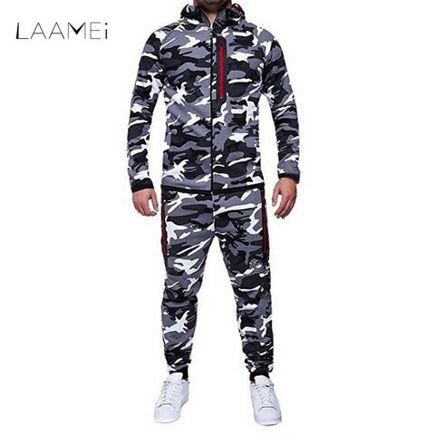 LAAMEI 2018 Camouflage Jacket Set Men Camo Printed 2Pc Sportwear Male Tracksuit Top Pants Suits Hoodie Coat Trousers Autumn-moslily