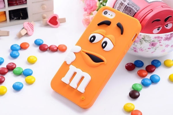 Cartoon M&M's Chocolate Candy Rubber Case For iPhone 6 6S 7 8 Plus 4 4S 5C SE 5 5S Best Quality Soft Silicone Back Cover Fundas-moslily