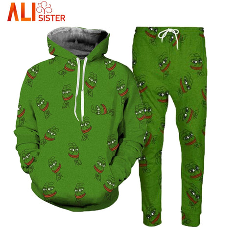 Alisister Pepe Frog Hoodies Suits Men's Sweatshirt Joggers Funny Animal Print Set 2018 Fall Winter Unisex 3d Tracksuit Pants-moslily