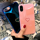 Shiny Plating Love Heart Couples Phone Case For iphone 7 6 6s Cases Candy Color Silicone Back Cover For iphone X 10 8 plus 7PLus-moslily
