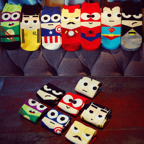 Size 36-43 Man Harajuku Socks Ninja Batman Superman SpiderMan Captain America socks Avengers Short Novelty Kawaii socks cotton-moslily