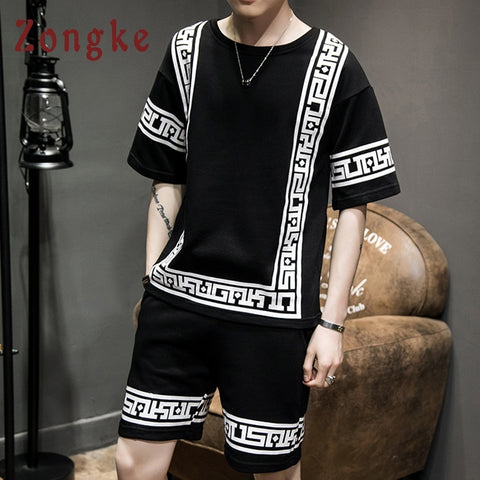 Zongke Chinese Men Set Cotton Funny Black Mens T-Shirts and Shorts Sets Jogger Men's Sets Male Tracksuit 2018 Summer-moslily