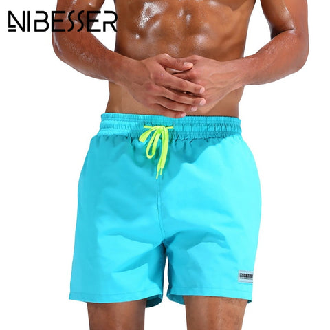 NIBESSER Men's Trunks Solid Men Fashion Board Shorts Beach Shorts Mena Knee Length Casual Shorts Drawstring Trunks-moslily