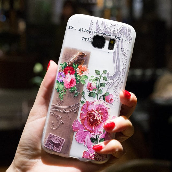 BROEYOUE Case For Samsung Galaxy S8 S7 S6 Edge S8 Plus S5 J7 J5 2017 J3 J7 Prime A3 A5 A7 2016 Note 3 4 5 8 Coque Flowers Cases-moslily