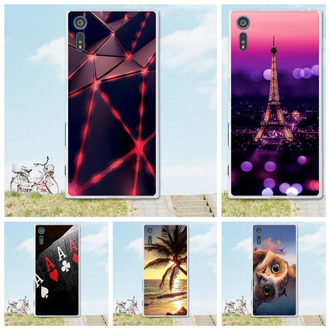3D Relief paint soft Silicone back cover case for Sony Xperia XZs for Sony XZ XR Mobile Phone Etui For Coque Sony Xperia XZ case-moslily