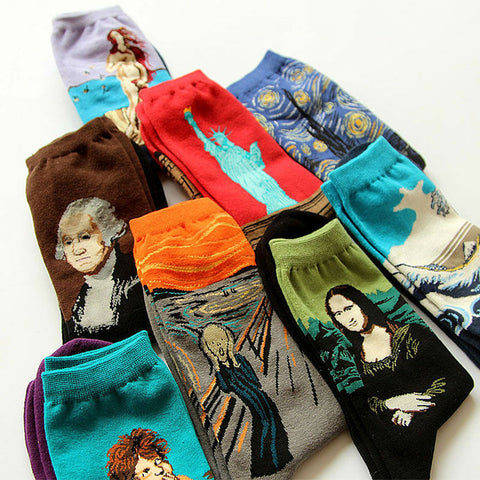 Novelty Famous Oil Painting Art Socks Women's Men's Street Graffiti Van Gogh Mona Lisa Long Sock Winter Autumn Cotton Socks-moslily