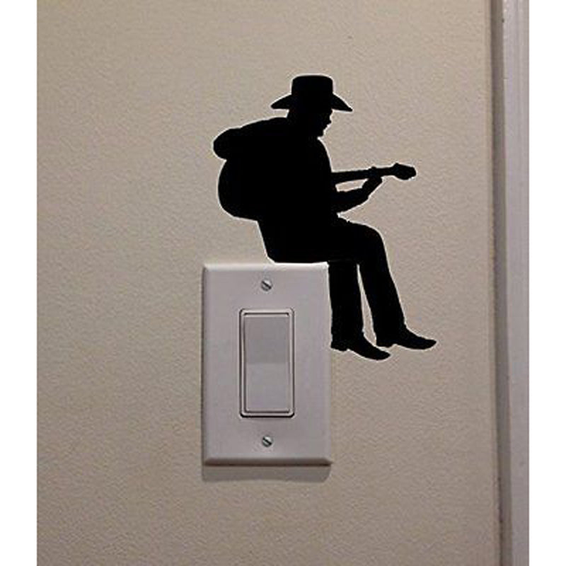 Cowboy Playing Guitar Switch Sticker