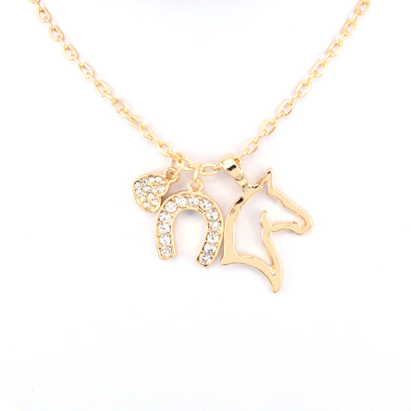 Horses and Horseshoe Necklace