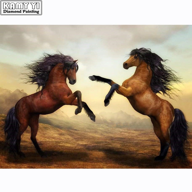 Two Powerful Horses Painting