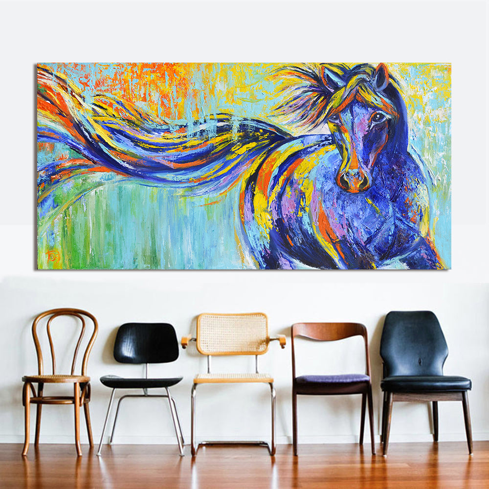 Colorful Running Horse Art Canvas