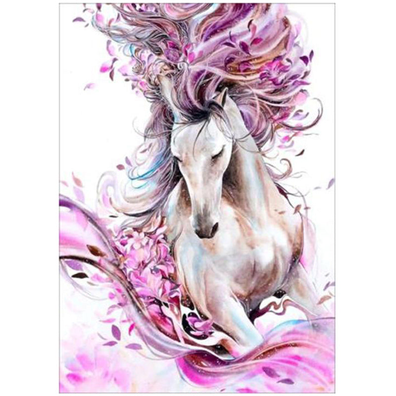Pink Leaf Horse Painting