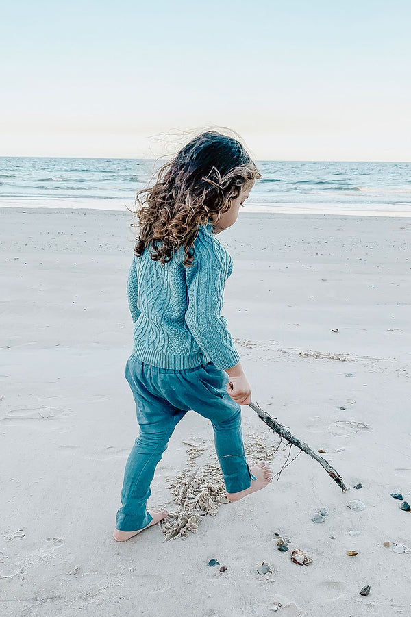 Kids Bohemian style blue pants,  100% Merino wool sweater in blue. Exclusive to We the Wild Collective