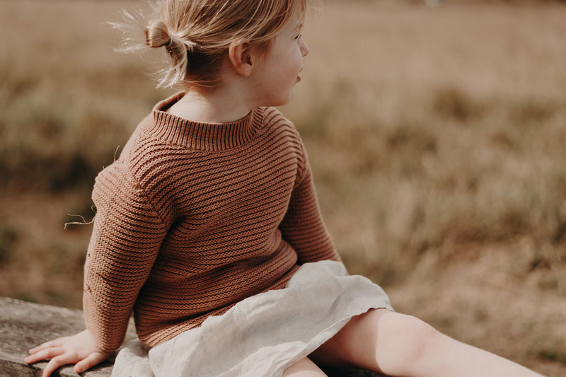 RELAXED COTTON SWEATER - BROWN EARTH