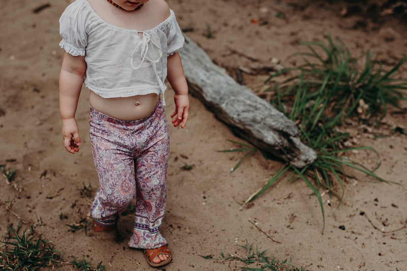 MINI BELL BOTTOMS - PINK FLORAL BORDER