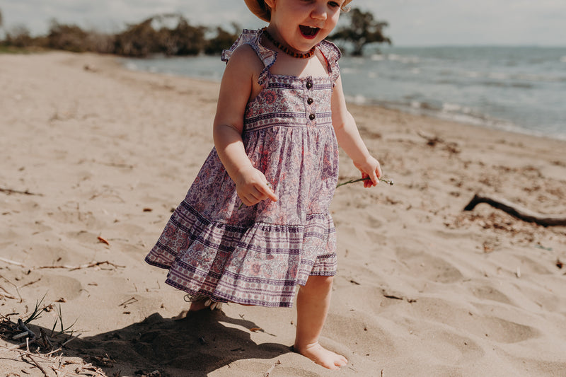LITTLE MILLIE DRESS - PINK FLORAL BORDER