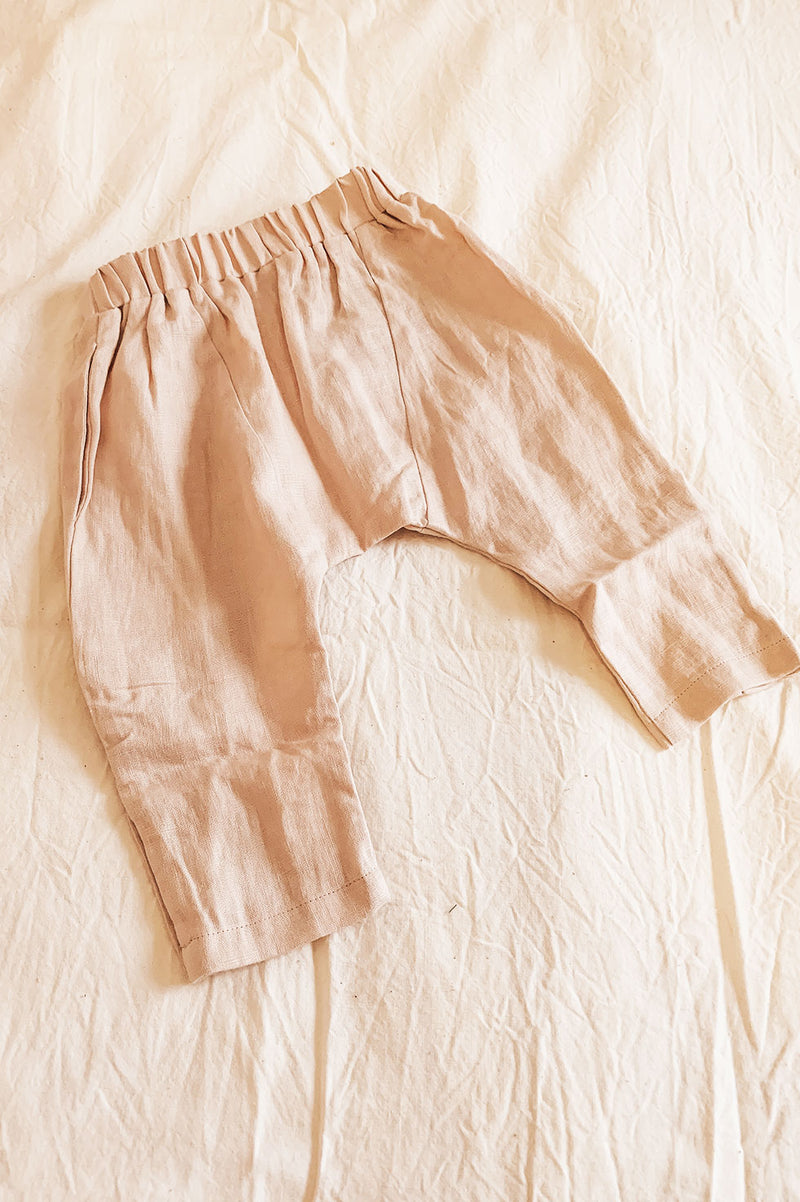 LUXE LINEN PANT - DUSTY PINK