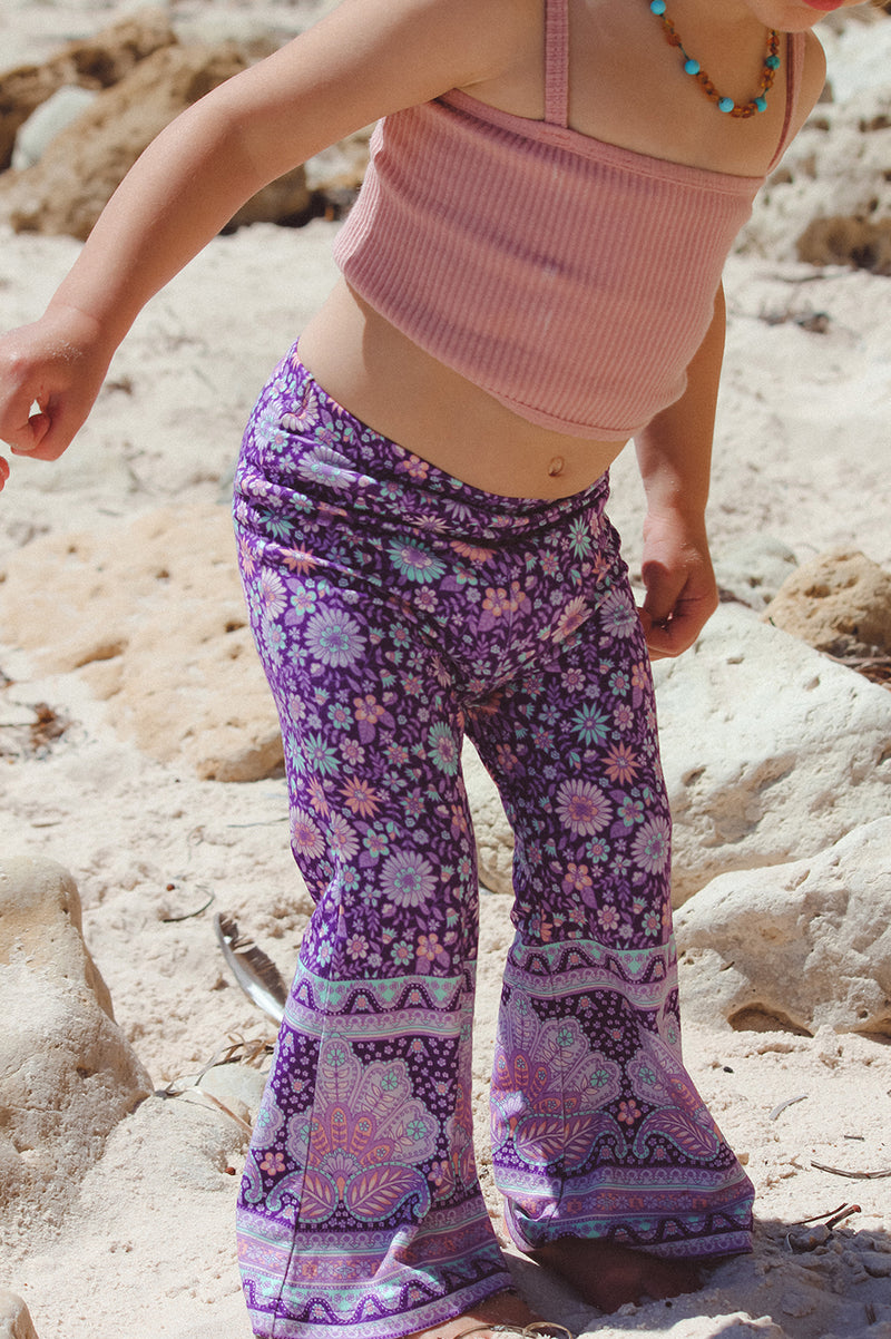 SHELL PAISLEY MINI BELL BOTTOMS - PURPLE