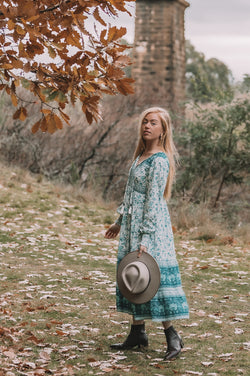 We the Wild Collective, bohemian inspired, long sleeve midi dress with shirred cuffs. Aqua skies print colour.  Fully lined