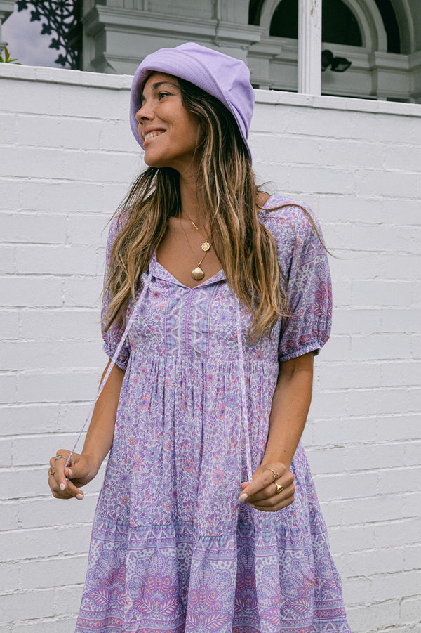 SHELL PAISLEY S/SLV TUNIC DRESS - CLOUD