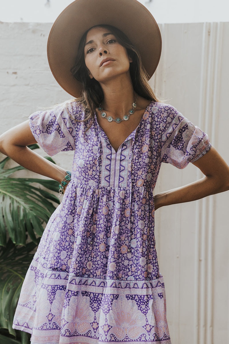 SHELL PAISLEY S/SLV TUNIC DRESS - PURPLE