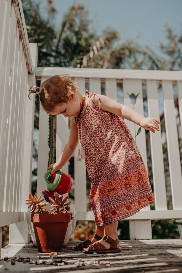SUMMER DAZE KIDS DRESS - DITSY BORDER