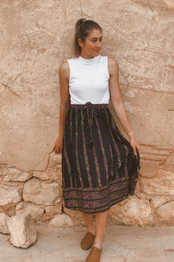 SUMMER DAZE MIDI SKIRT - PAISLEY BORDER