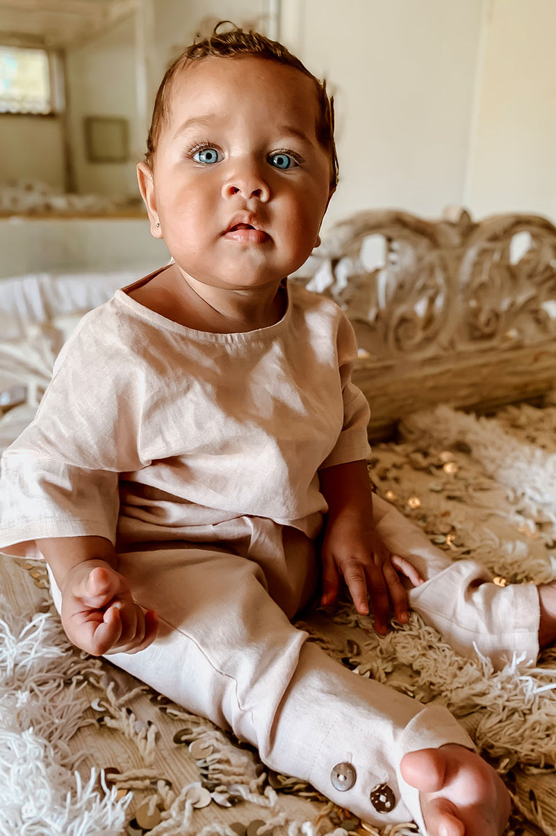 Kids Bohemian style, 100% linen set in pink. Exclusive to We the Wild Collective