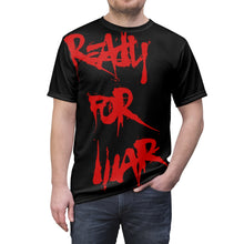 Load image into Gallery viewer, READY FOR WAR All Over Print Tee Shirt Paint Blood Red