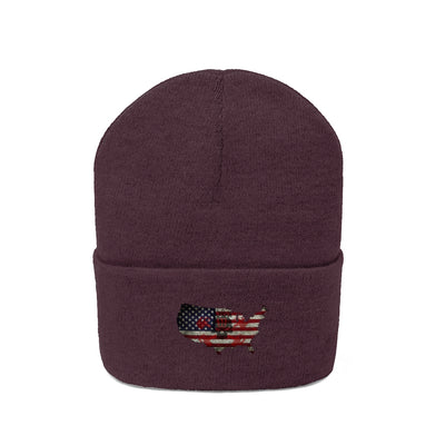 American Knit Beanie Winter Hat OG Barbell Skull