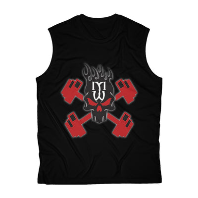 Muscle War OG Black Skull Sleeveless Cutoff Performance Tee