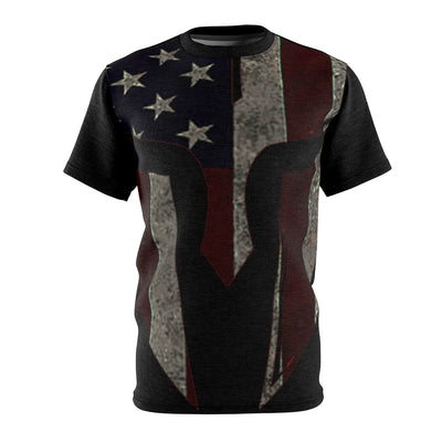 Unisex All Over Print Tee Helmet Warrior Spartan American Flag
