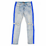 Color Stripe Denim- Blue