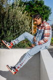 Flannel Denim Pants- Red