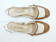 Upload the image to the Gallery Viewer, Two-Tone Leather Flat Sandals with Strap