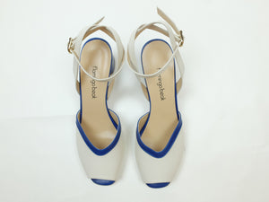 Two-tone sandals with ankle strap