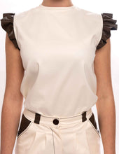 Upload the image to the Gallery viewer, Top Color Butter Sleeves Volants in Faux Leather